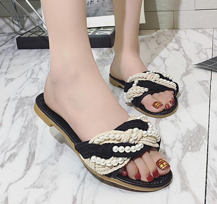 2017 new fashion Spring and summer Straw rope ladies flat sandals
