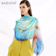 Top Quality BAOSHIDI Luxury Brand 100% Pure Silk Chiffon Long Scarf