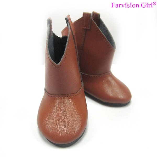 Brown pu doll shoes 18 inch american girl wholesale doll boots