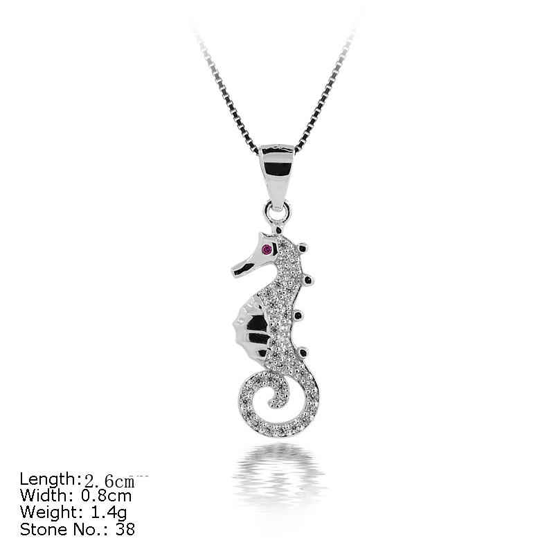 PZA2-140 925 Sterling Silver Hippocampus Sea Horse Shape Animal Pendant <strong>Charm</strong> for Unisex
