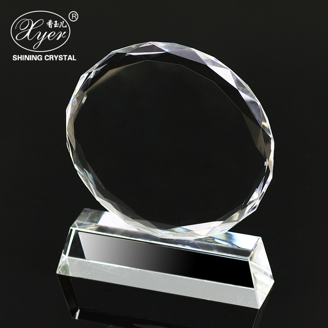 Hot saling blank sublimation plaque trophy crystal round shaped