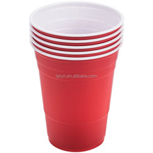 Cheap 16oz Disposable Plastic Red Beer Pong Cup for Party