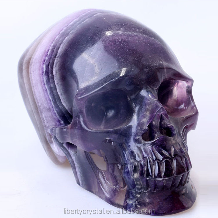 Natural Fluorite Quartz Hand Carved Super Realistic Crystal Skulls for sale