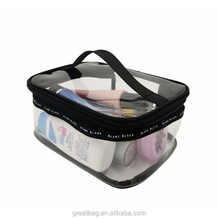 portable funny travel makeup pouch clear zipper pvc cosmetic bag