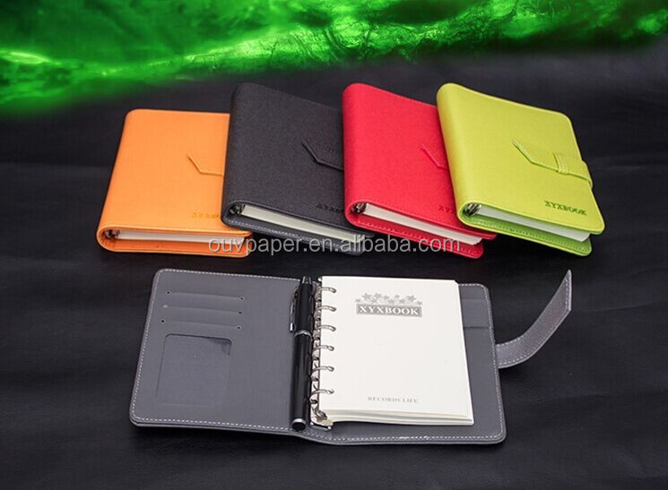 2016 leather diary notebook,pu leather Cover Material and Hardcover Style notebook with pen attached