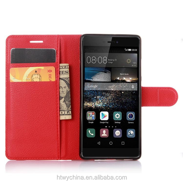 2016 pu leather wallet cases For huawei p9 leather flip case stand