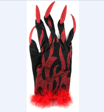 demon nail glitter halloween polyester feather gloves
