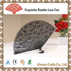 Exqusite Wedding Bamboo Lace Hand Fans for Decoration