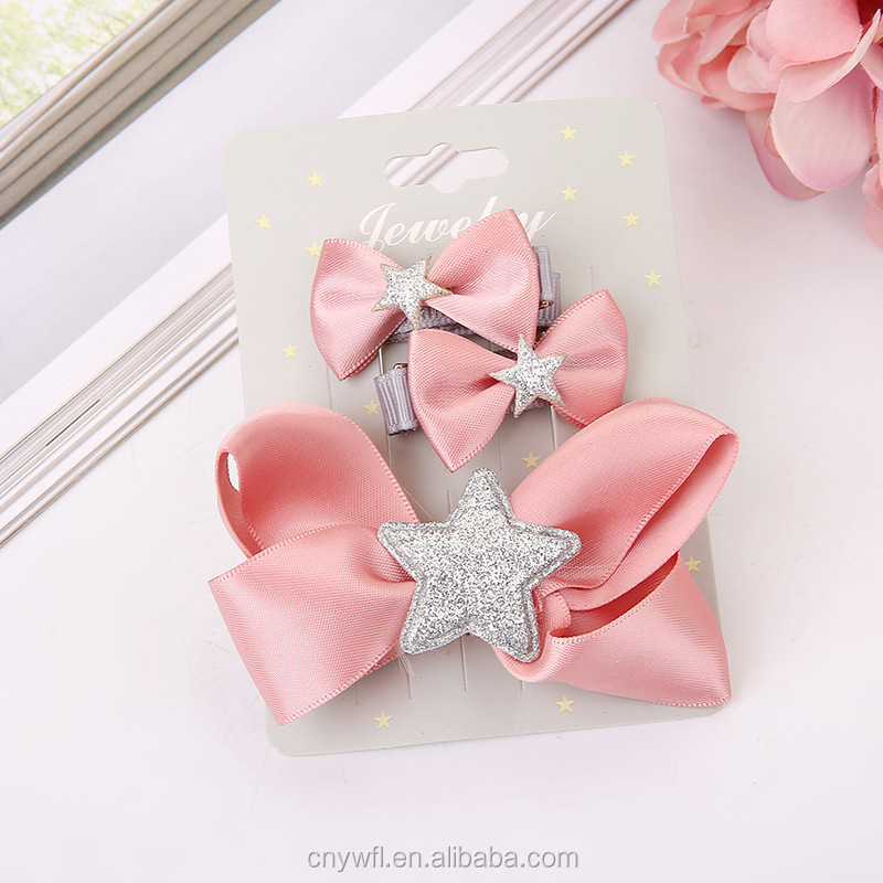wholesales hair jewelry 3 hair bow children's hairpin gift set kids hair accessories