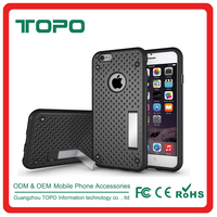 Ultra thin heat dissipation phone case kickstand hole with Polka Dot Mesh 2 in 1 pc tpu phone cover case for iphone 6