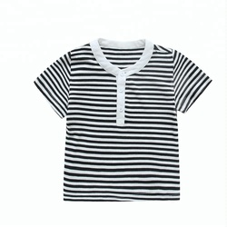 Summer V-neck Striated Baby T-shirts