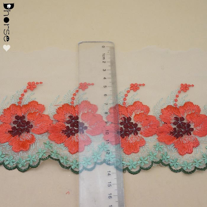 New multi color flower embroidery tulle lace trim for women garment DHFLT0070