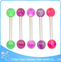 316L Barbell UV Glitter Bioplast Tongue Rings Body Piercing