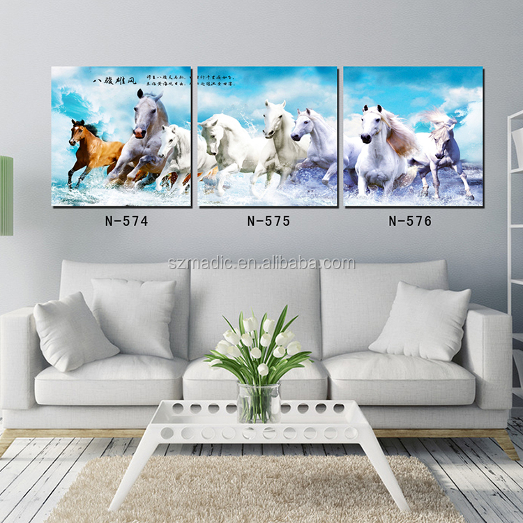 HD Printed Canvas Prints Running Horses Painting Chinese Traditional Wall Decoration