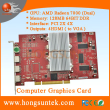ATI Radeon 7000 PCI Dual GPU 128MB (Dual 64MB) Video graphic card with 4 output ports to support 4 monitors