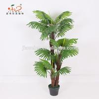 yiwu manufactory artificial plastic palm tree and plants for indoor decoration sale