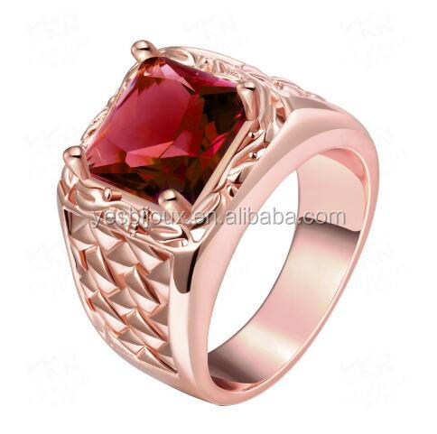 ladies 18k gold plated big single cubic zircon stone ring jewellery