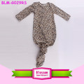 Newborn Nightgown Leopard Print Long Sleeve Baby Sleeping Bag Soft Cotton Knotted Baby Gowns