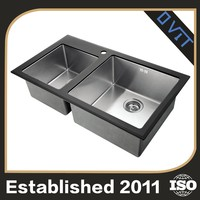 High Quality Iso Certified Double Kitchen Glass Basin Small Hand Washing Sink