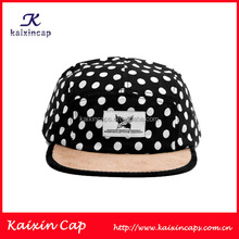 high quality polka dot printing corduroy brim designed 5 panel hat wholesale