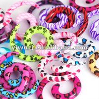 2013 Fashion spiral ear tapers stock 6 sizes 120pieces zebra print,star,heart,skull print spiral