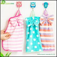 wholesale promotional christmas cheap cute hand towel coral fleece hanging kitchen decorative hand towel GVSQ0002