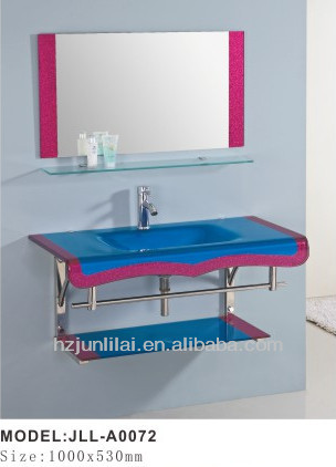 glass counter top glass basin wash basin with shelf