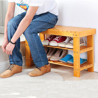 wooden shoes storage rack bench with cushion and basket