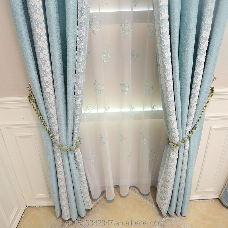 Modern style wholesale fabric lace curtains blue pure jacquard fabric