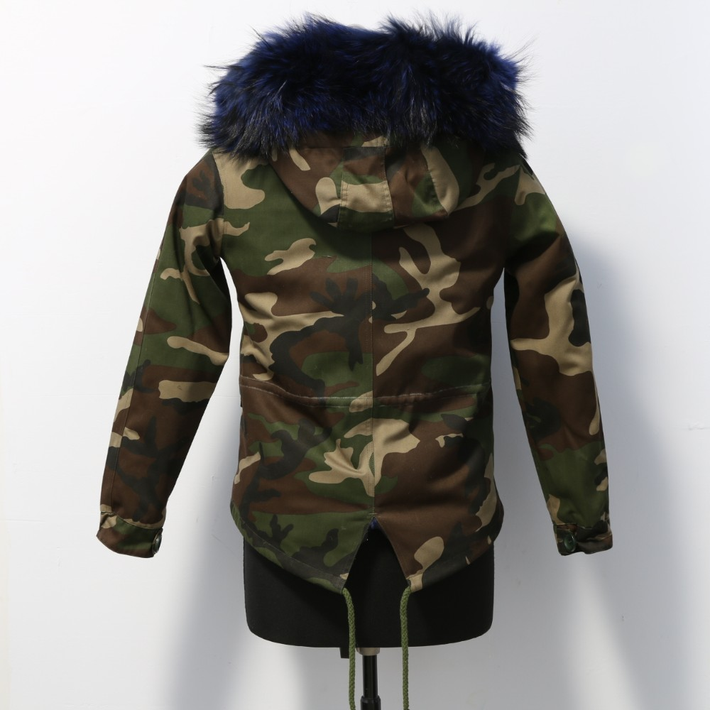 fashion camouflage parka jacket with fur hood for women