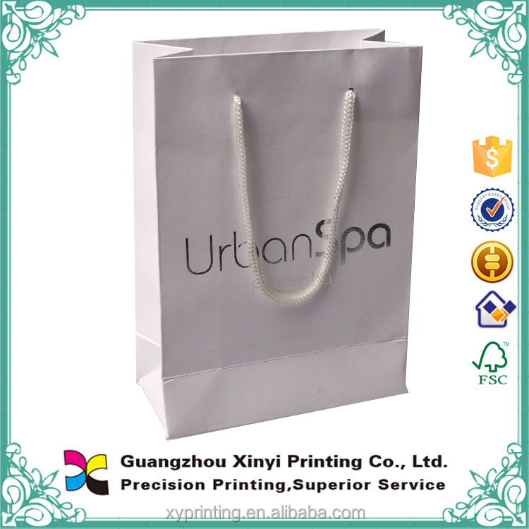 customized design white nylon rope handle factory price paper bags with your own logo