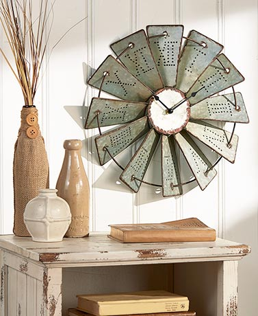 best selling windmill metal wall clock with roman numbers, wall clock round home decoration