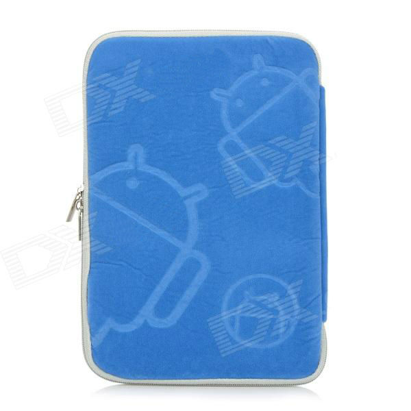 Robot Patterns Protective Sponge Dual Zipper Bag Case for iPad Mini / 7'' Tablets - Blue