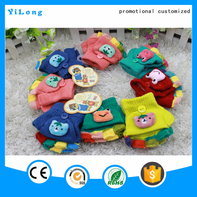 Factory deal sell Cheap beautiful kids animal cartoon knitted gloves
