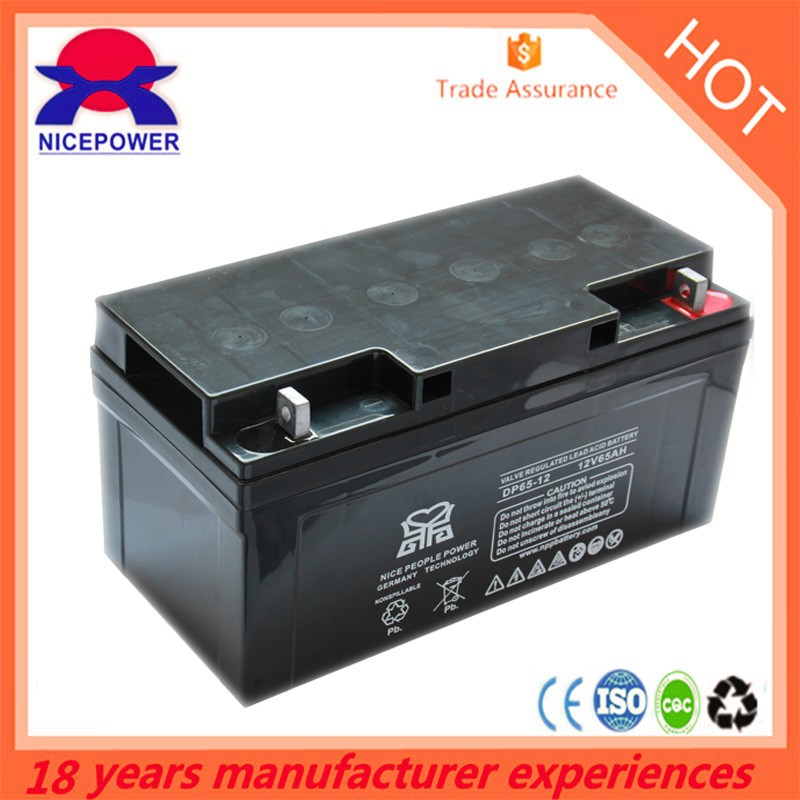 Guangzhou factory produce agm battery 12v 65ah lead acid battery storage battery