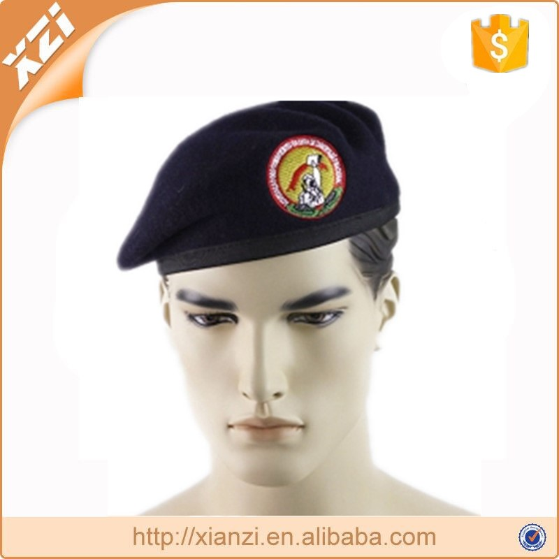 Embroidery military beret war soldiers dress wool beret hat