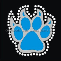 paw print glitter iron on with rhinestone transfer FY60 (7)
