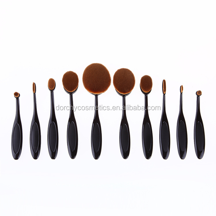 New Arriveral 10pcs Tooth Brush Shape Oval Makeup Brush Set Professional Foundation Powder Brush Kits