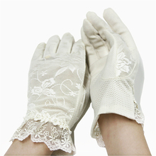 Ladies Sexy Fashion UV Protect cotton Gloves With Lace