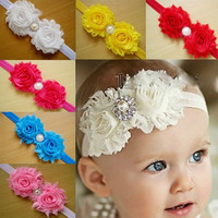 Wholesale Children headbands double flowers with pearl hairbands baby headbands