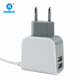 Mobile phone charger manufacturer made 2 usb port wired wall charger with your logo