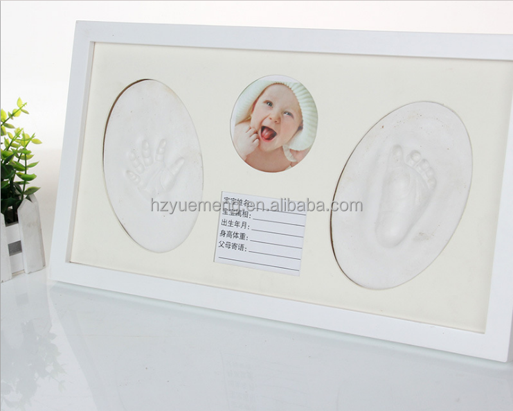Wholesale unique custom baby footprint for home decoration lovely wooden picture frame