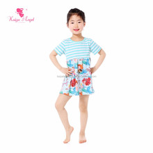 Aqua And White Striped Mermaid Small Girls Dress Kids Cotton Frocks Design