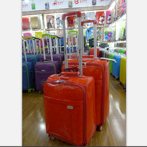 smooth bright pu luggage set soft trip trolley suitcase travel case with 210D linning