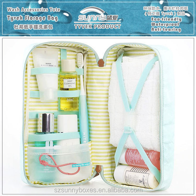 Color Printing Tyvek Paper Make Up Kits & Bath Accessories Travel Tote Packing Bag With Zipper