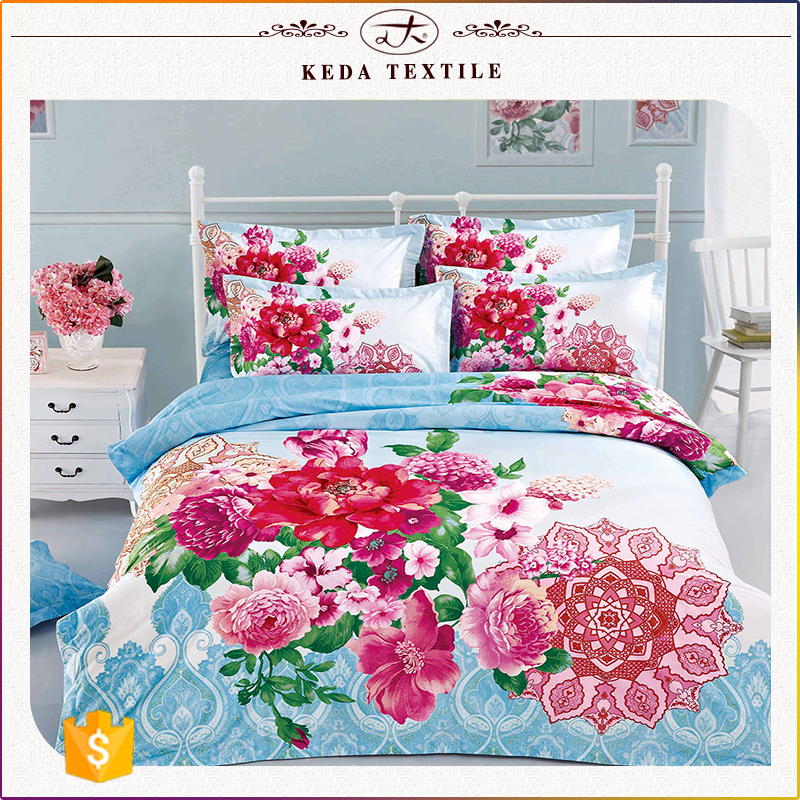 China supplier printed home textile full size bed sheet 4pcs 100% cotton printed flower bedding set 3d