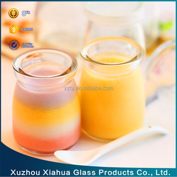 100ml and 200ml Pudding Glass bottle yogurt Glass Jar jelly milk bottle with lid