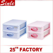 Classic style 2 tiered plastic drawer storage box for sundries