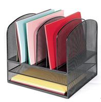 Office Mesh Desk Organizer Desktop File Holder Letter Tray with Two Horizontal and Six Upright Section