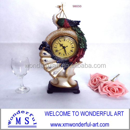 home decoration polyresin figures in peacock shape with clock